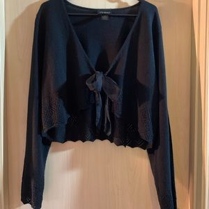 Lane Bryant crop - ribbon tie front sweater